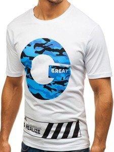 Bílé pánské tričko s potiskem Bolf 6299