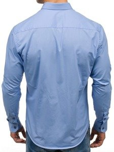 Blankytná pánská elegantní košile s dlouhým rukávem Bolf 7726