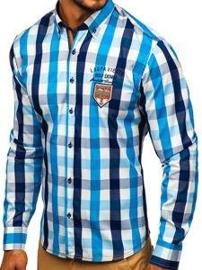 Blankytná pánská kostkovaná košile s dlouhým rukávem Bolf 1766-1