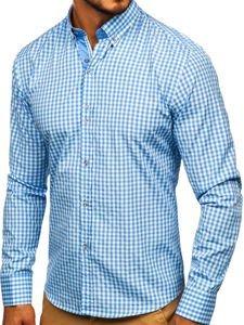 Blankytná pánská kostkovaná košile s dlouhým rukávem Bolf 9712
