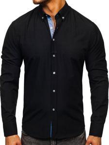 Černá pánská elegantní košile s dlouhým rukávem Bolf 8838-1