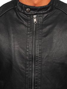 Černá pánská koženková bunda biker Bolf 92532