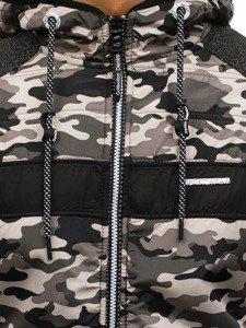Černá pánská maskáčová mikina s kapucí Bolf HH507