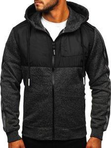 Černá pánská mikina na zip s kapucí Bolf TC506