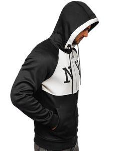 Černá pánská mikina na zip s kapucí a potiskem Bolf YD88001