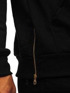 Černá pánská mikina s kapucí a potiskem Bolf 80660