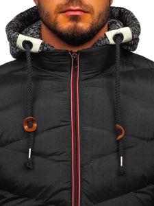 Černá pánská prošívaná sportovní zimní bunda Bolf 50A163