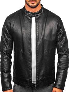 Černá pánská zateplená koženková bunda biker Bolf 92531