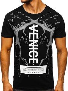 Černé pánské tričko s potiskem Bolf 10872