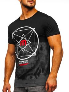 Černé pánské tričko s potiskem Bolf 10887