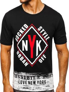 Černé pánské tričko s potiskem Bolf 6305
