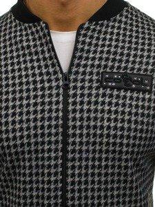 Černo-šedá pánská sportovní přechodová bunda Bolf 0927-2