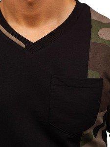 Černo-zelená pánská mikina bez kapuce Bolf 0744