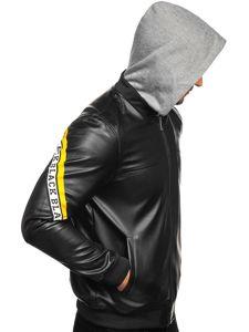 Černo-žlutá pánská koženková bunda s kapucí Bolf HY614
