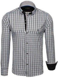 Černvá pánská kostkovaná košile s dlouhým rukávem Bolf 4712