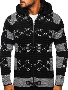 Černý pánský silný svetr na zip s kapucí bunda Bolf 2059