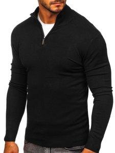 Černý pánský svetr na zip s vysokým límcem Bolf YY08