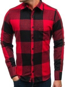 Červená pánská flanelová košile s dlouhým rukávem Bolf 801