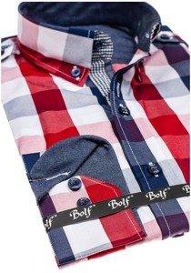 Červená pánská kostkovaná košile s dlouhým rukávem Bolf 2779