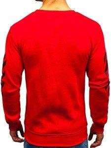Červená pánská mikina bez kapuce s potiskem Bolf 22012