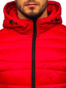 Červená pánská prošívaná zimní bunda Bolf 1139