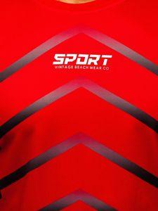 Červené pánské sportovní tričko s potiskem Bolf KS2063