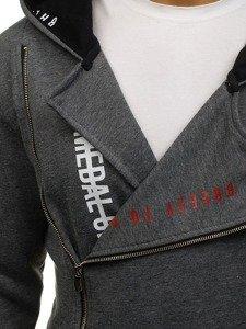 Grafitová pánská dlouhá mikina na zip s kapucí Bolf 171490
