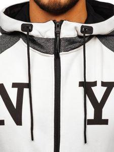 Grafitová pánská mikina na zip s kapucí a potiskem Bolf YD88001