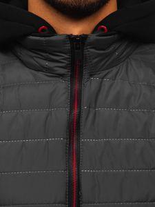 Grafitová pánská vesta s kapucí Bolf 6102
