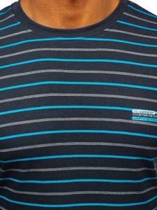 Grafitové pánské proužkované tričko s dlouhým rukávem Bolf 1519