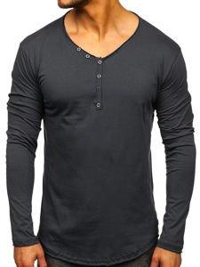 Grafitové pánské tričko s dlouhým rukávem bez potisku Bolf 5059