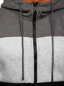 Grafitovo-šedá pánská mikina na zip s kapucí Bolf KS2225
