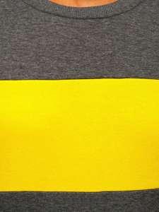 Grafitovo-žlutá pánská mikina bez kapuce Bolf 2021