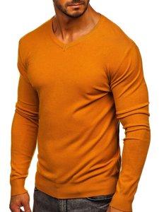 Kamelový pánský svetr s výstřihem do V Bolf YY03