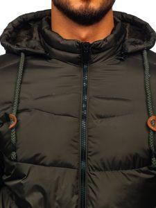 Khaki pánská prošívaná sportovní zimní bunda Bolf 50A156