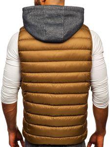 Khaki pánská prošívaná vesta s kapucí Bolf B2679