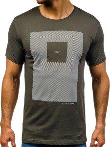 Khaki pánské tričko s potiskem Bolf 304