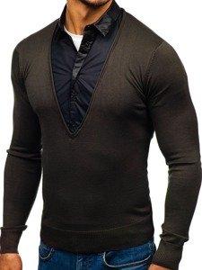 Khaky pánský svetr 2v1 s košilí Bolf 88132