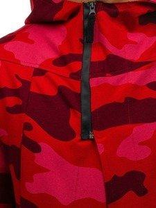 Maskáčovo-červená pánská dlouhá mikina na zip s kapucí Bolf 0932