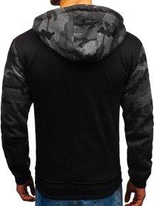 Maskáčovo-grafitová pánská mikina na zip s kapucí Bolf 33007