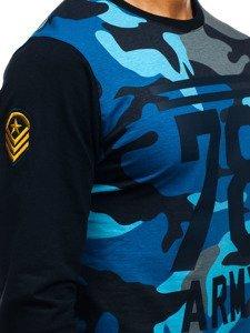 Maskáčovo-tmavě modrá pánská mikina bez kapuce s potiskem Bolf 0746