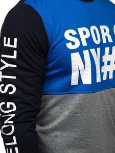 Modrá pánská mikina bez kapuce s potiskem Bolf HY541