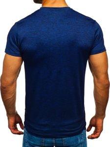 Modré pánské tričko bez potisku Bolf S01