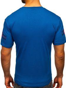 Modré pánské tričko s potiskem Bolf 14312