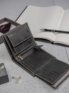 Pánská černá kožená peněženka 3203