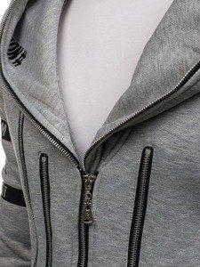 Šedá pánská dlouhá mikina s kapucí Bolf Y36-3