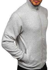 Šedá pánská mikina na zip bez kapuce Bolf B002