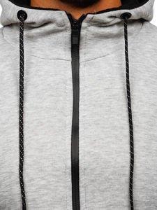 Šedá pánská mikina na zip s kapucí Bolf DD02