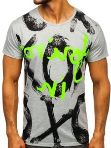 Šedé pánské tričko s potiskem Bolf KS1985