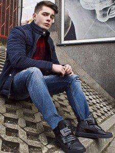 Stylizace č. 87 - zimní bunda, flanelová košile, džíny, tenisky